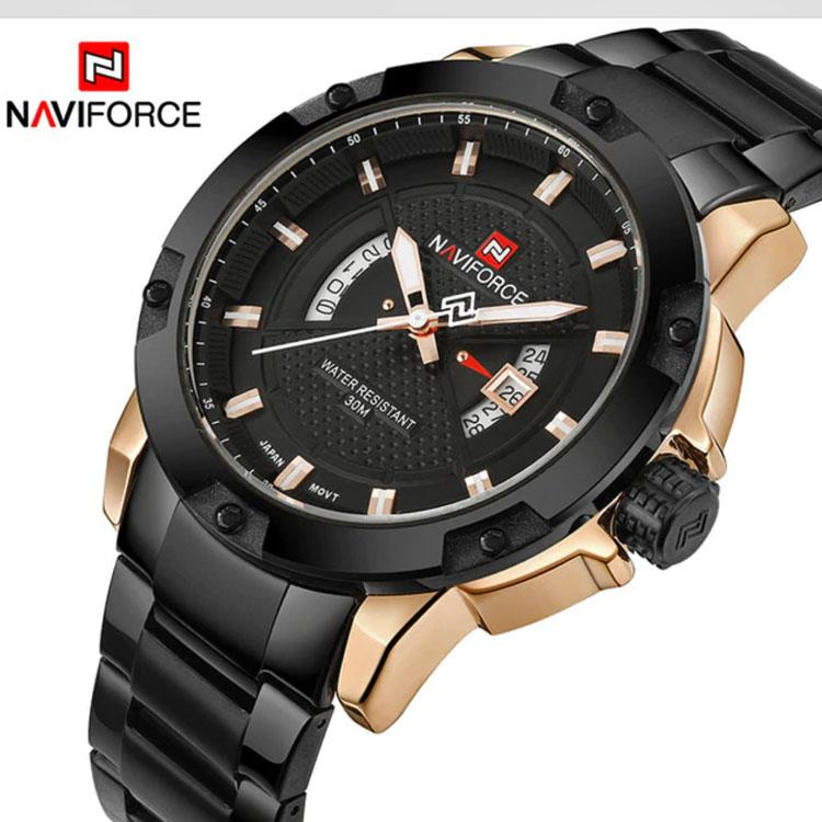25b9a00ca image description · NAVIFORCE Luxury Brand Military Quartz Analog 3D Face  Full Steel Man Sports Watch